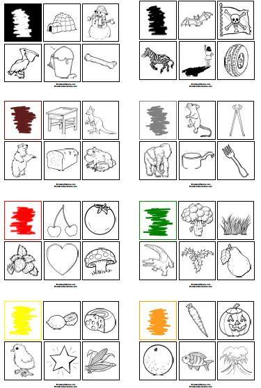 Voorwerpen gesorteerd op kleur, even knippen en dan met kinderen de kleur benoemen (en inkleuren). Meteen goed voor de woordenschat!