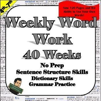 #wordwork Weekly Word Work  ***Updated***This Weekly Word Work activity provides 40 weeks of vocabulary and sentence structure skills. New edition includes 120 pages to allow you to differentiate the lesson to meet your students' needs.Section 1- Words and Definitions are included.