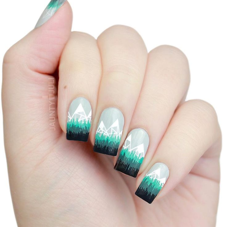 Just uploaded a new tutorial on this Abstract Geometric Mountain nail design! Link in my bio!