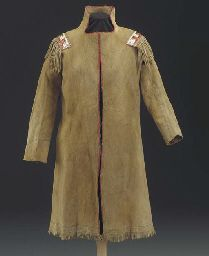 A CREE MAN'S QUILLED HIDE COAT