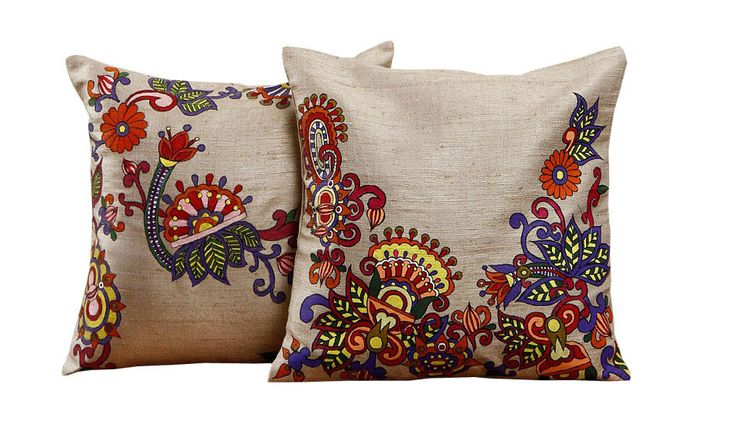 Rangrage - Floral - Set of 2 - Beige - Silk - Hand Painted Cushion Covers by RangrageArts on Etsy