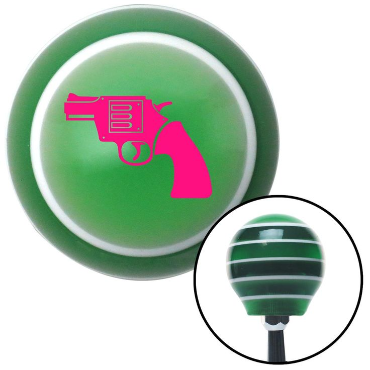 Pink Hand Gun Green Stripe Shift Knob with M16 x 15 Insert - Give your interior the ultimate look. American Shifter's Elite(TM) series shift knobs are made from the highest quality components resulting in a superior feel on every shift. Each shift knob is designed and customized in the USA by skilled shift knob artisans who have a trained eye on every detail. American Shifters shift knobs offers an exclusive aluminum threaded insert designed to be screwed onto your shift arm. You should…