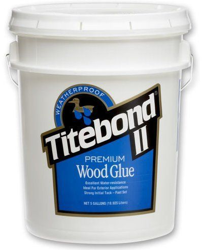 TITEBOND II WOOD GLUE, 5 GALLON PAIL by Titebond. $95.95. Titebond II Premium Wood Glue is the only leading brand, one-part wood glue that passes the ANSI Type II water-resistance specification. It is ideal for exterior woodworking projects, including outdoor furniture, birdhouses, mailboxes, planters and picnic tables. Titebond II Premium provides a strong initial tack, fast speed of set, superior strength and excellent sandability.   It is FDA approved for indir...