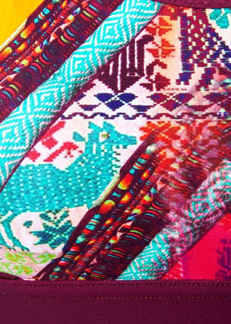 Close up detail of the Matthew Williamson Aztec Print Scooped Neck Sports Bra.