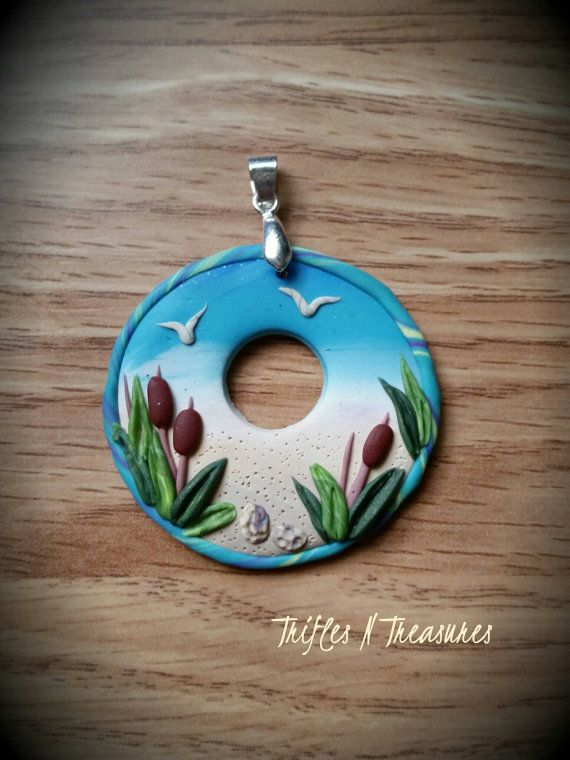 Pinterestte 25den fazla en iyi polymer clay pendant fikri day at the beach round polymer clay pendant mozeypictures Images