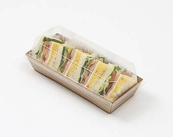 10 x Sandwich Box / Kraft or White Color / Sushi Boxes / Clear Food Box / Disposable box / Party Tray / Lunch Box / Sandwich wrap