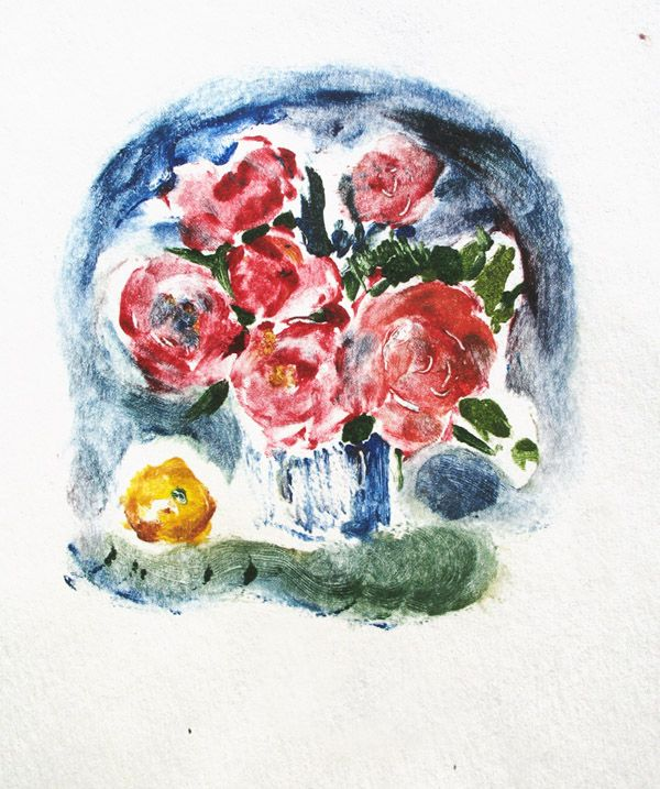 Flowers Peonies. Monotype