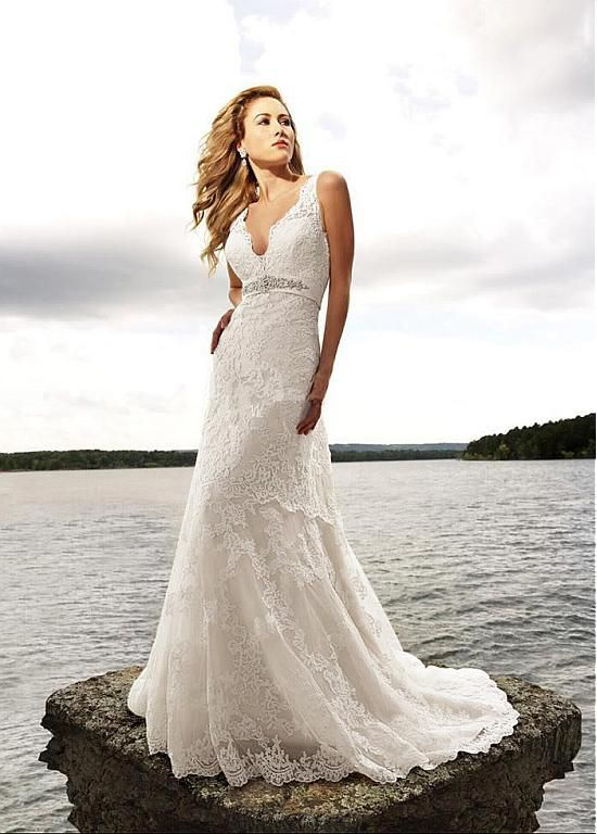Marvelous Tulle & Satin V-neck A-line Wedding Dress with Lace Appliques #wintersale
