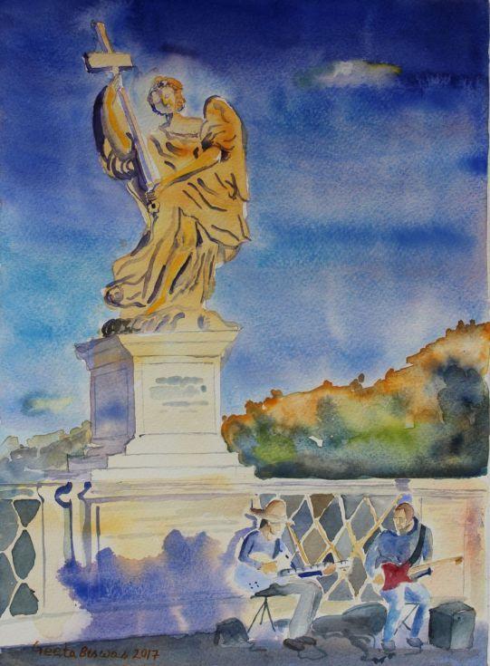 Buy Ponte Sant'Angelo, Rome, Free shipping, Watercolor by Geeta Biswas on Artfinder. #rome #roma #gift #souvenir #bridgeofangels #angel #watercolor #art #painting #under$150 #artcollectors #contemporaryart
