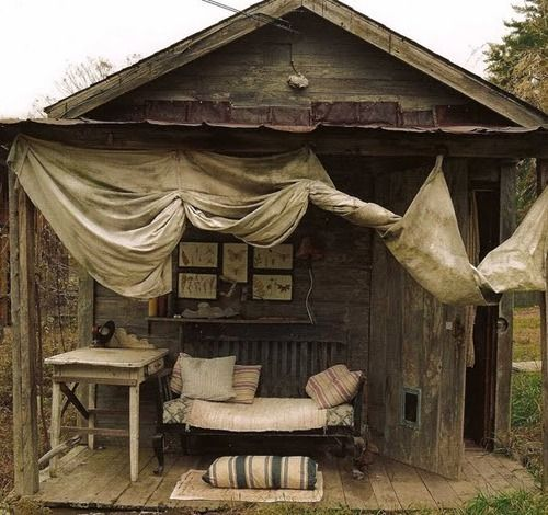 rustic woods, distressed paint: Irons Beds, Vintage Shabby Chic, Rustic Beaches House, Idea, Outdoor Living, Outdoor Rooms, Backyard, Outdoor Spaces, Porches