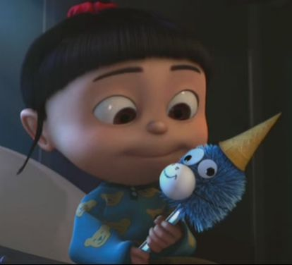 Agnes from Despicable Me and her    toilet brush unicorn!