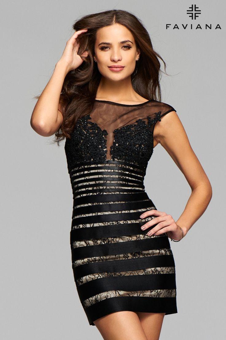 Horizontal Striped Lace Formal Dress