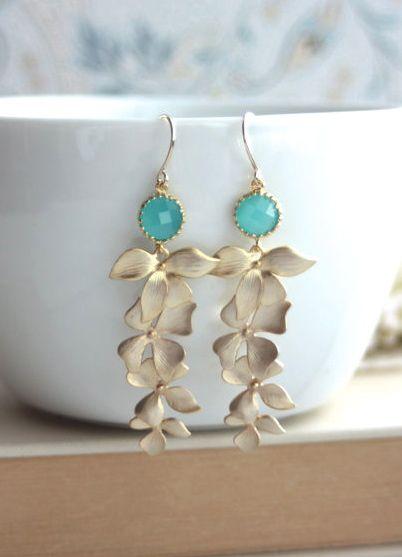 Mint Opal Green, Gold Orchid Earrings, Mint Gold Glass Dangle Earrings | By Marolsha