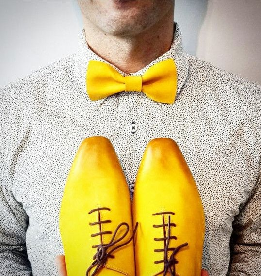 Yellow Leather Bow Tie