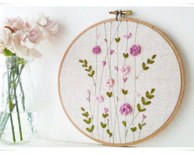 Arte del ricamo hoop parete - rosa Rose Garden Spring del nastro
