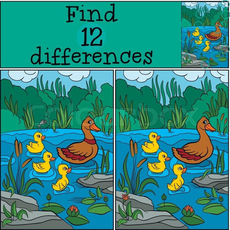 Stock vector of 'Children games: Find differences. Duck and ducklings on the lake.'