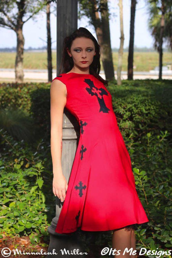 06b58e7b742 Celtic cross red dress size 3 Its Me Designs up-cycled fashion stage wear  goth prom goth wedding rocknroll fashion tattoo goth fashion
