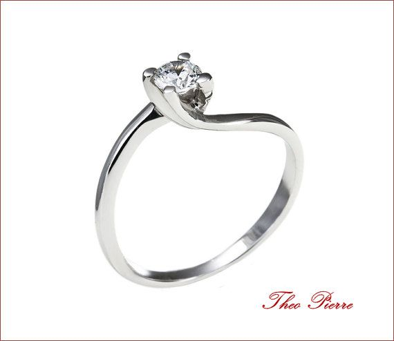 18K Gold or Sterling Silver Ring, Solitaire Ring