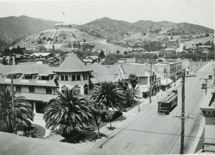 1915 Looking up Highland Ave. and at the Hollywood Hotel