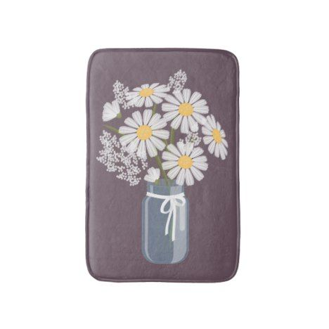 White Daisies Mason Jar on Plum Purple Bathroom Mat #kids #childrens #illustrator