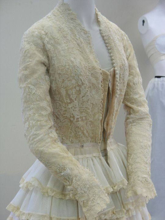 The bodice and bottom petticoat of Grace Kelly's iconic wedding gown