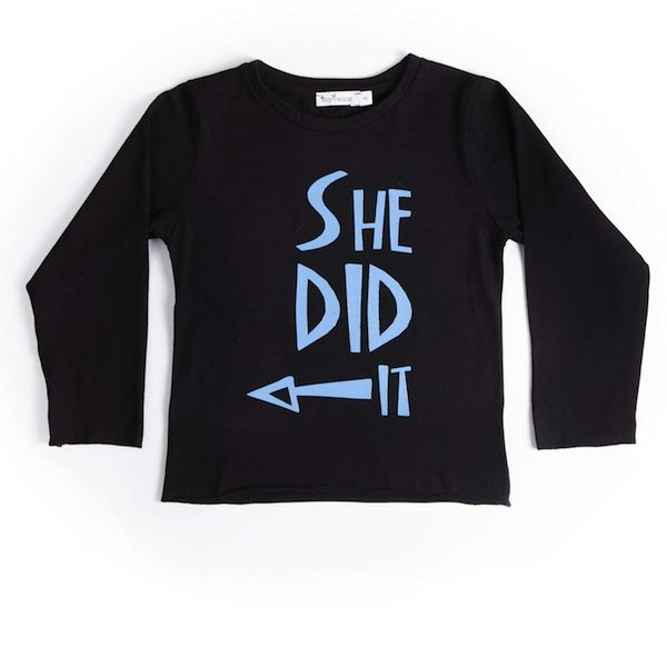 T-Shirt in black color with blue print 'She Did It'. Only in mytwins collection.