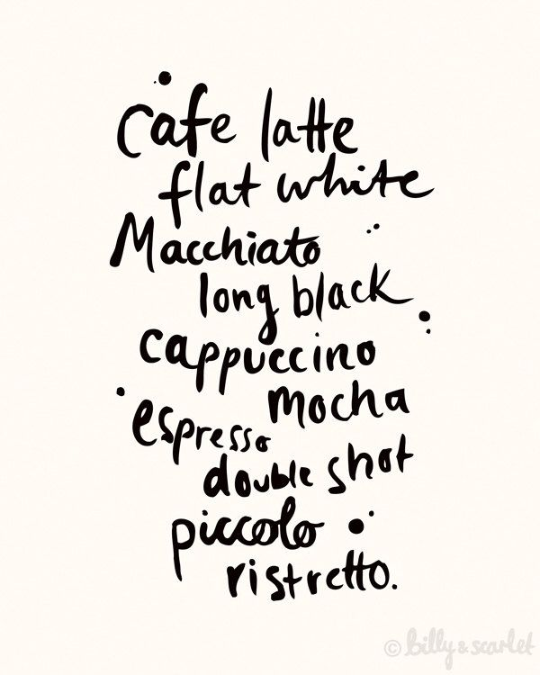 Coffee Art Print 8x10 / A4, Different types of coffee, Ink illustration handwritten typography, Cafe Decor by BillyandScarlet on Etsy https://www.etsy.com/au/listing/124869909/coffee-art-print-8x10-a4-different-types
