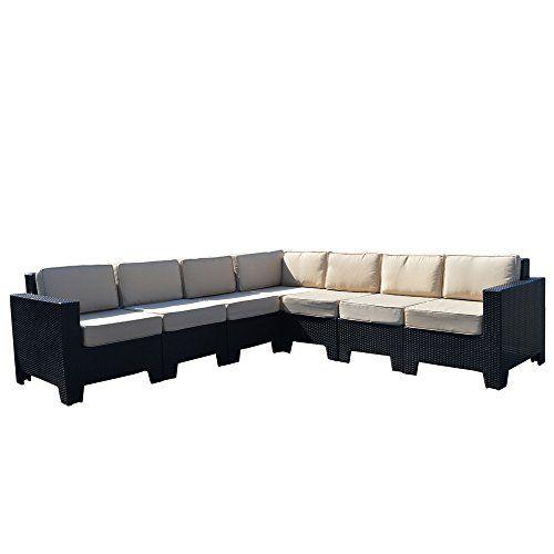 Premium Modular Corner Sofa Set Black All Weather Rattan Garden Furniture