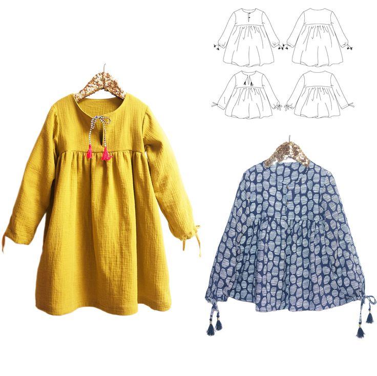 Patrons de Couture. EnfantFille. 3-12 ans Duo de patrons de couture - robe et blouse. Un style hippie chic à la coupe loose (ample) Manches longues avec