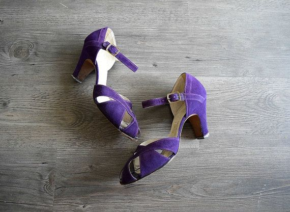 1930s shoes . vintage purple suede leather shoes . by BlueFennel