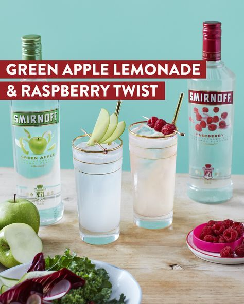 Gluten free for 2018? Smirnoff is gluten free all year long, so pop a bottle of Green Apple Smirnoff or Raspberry Smirnoff and feel good about what you're sipping on. Recipe for Green Apple Lemonade: 1.5 oz Smirnoff Green Apple, 4 oz lemonade, garnish with apple slices. Recipe for Raspberry Twist: 1.5 oz Smirnoff Raspberry, 0.25 oz fresh lemon juice, 2 dashes of bitters, 1 oz lemon-lime soda.