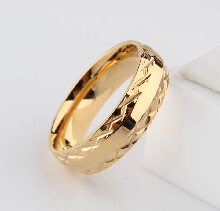 Find More Rings Information about Promotion 18K gold ring wedding rings for men women pattern stainless steel couple jewelry wholesale 6mm,High Quality ring details,China ring profile Suppliers, Cheap ring wedding ring from Chinese Jewelry Factory,Wholesale From Yiwu China on Aliexpress.com
