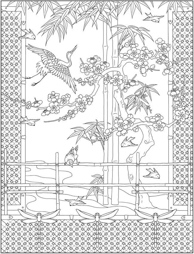 Creative Haven Japanese Designs Coloring Book Detailed Coloring Pages Japanese Embroidery Designs Coloring Books