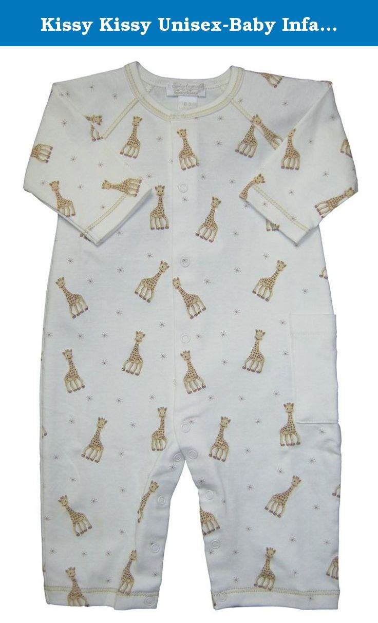 Kissy Kissy Unisex-Baby Infant Sophie La Girafe Print Playsuit-Ecru-6-9 Months. Kissy Kissy unisex baby clothes for either boy or girl soft cotton Kissy Kissy infant ecru playsuit with print of Sophie La Girafe.