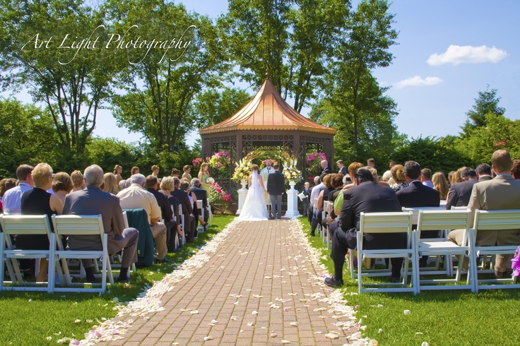 The Dearborn Inn Wedding, Dearborn Michigan  Outdoor Wedding Gazebo with Pink Rose Petals    http://www.ArtLightPhotography.com