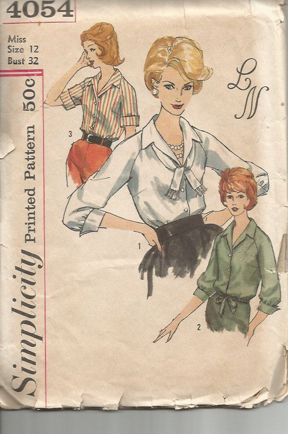 Vintage 1960s Blouse Pattern with by CircaSewingPatterns on Etsy, $6.50: Blouses Patterns, Blouse Patterns, Sewing Patterns