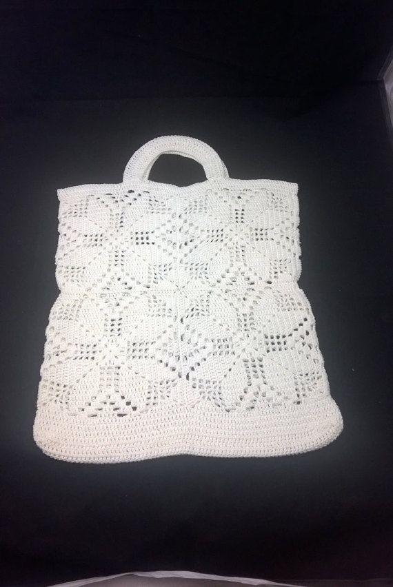 white Chrochet Bagvintage chrochet bag chrochet by SmalandVintage