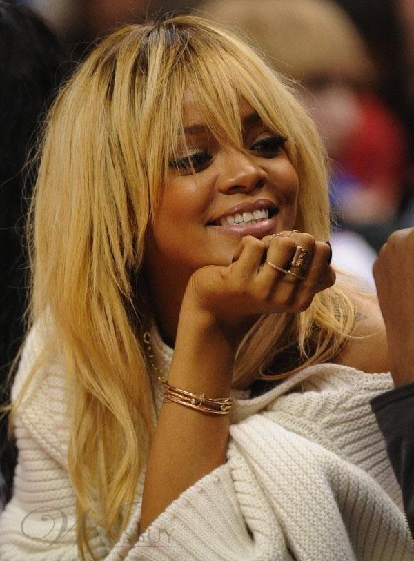 Rihanna Natural Straight Dark Root Full Bang Human Hair Capless Wigs 18 Inches