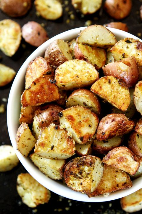 3-Ingredient Roasted Parmesan Pesto Potatoes Recipe on twopeasndtheirpod.com You only need 3 ingredients to make these crispy potatoes. They are a great side dish to any meal!