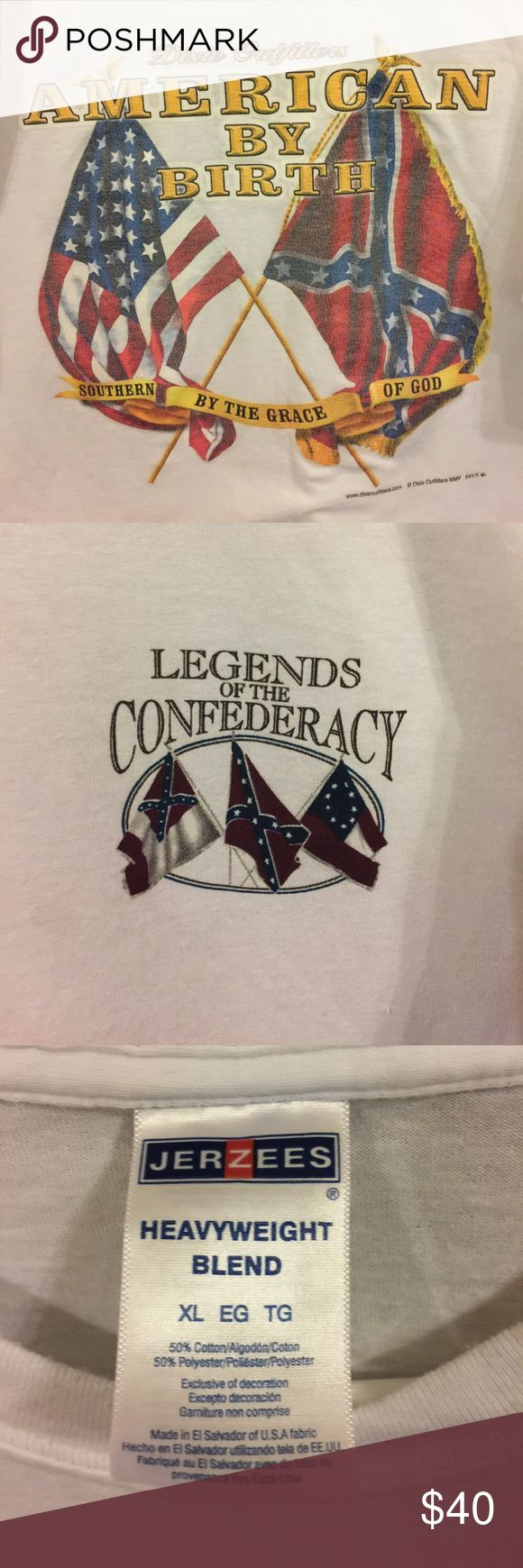 BNWOT Legends of the Confederacy T-shirt When he was deployed to Afghanistan, my husband received this as a gift from military supporters.  He has chosen never to wear it. Some say it's offensive; others say it's history.  Whatever your opinion, THE PRICE IS FIRM, as some people are collectors of all things Confederate.  It is offered now for the sake of historicity.  If you find it offensive, please scroll on by, as I mean you no harm.  On the other hand, if this calls to you for whatever…