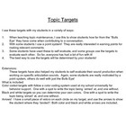 Topic maintenance can be a tricky skill to teach!  These targets have helped a lot of my students to see how close they are to the topic, or if the...
