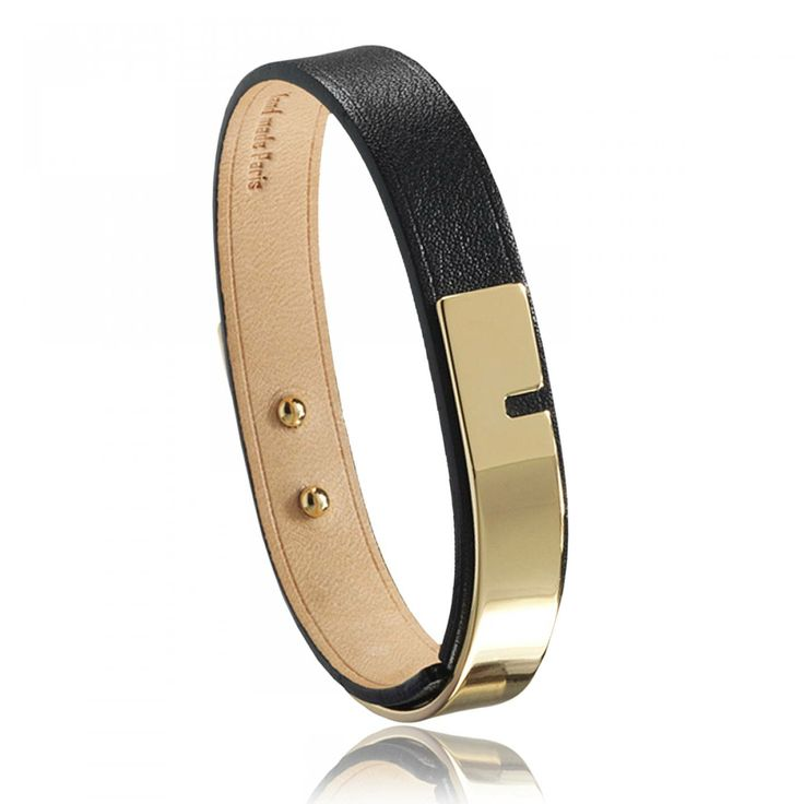 Ladies polished U-Turn black bracelets - Ursul
