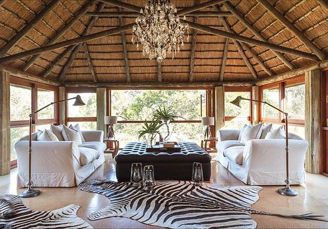 Sunday inspo today takes me back to Kings Camp in the beautiful Timbavati Concession bordering Kruger Park.  This space is my perfect haven...thatch, linen, crystal, hide and the African bush! #texturedinteriors #africandecor #travelafrica #kingscamp #timbavati