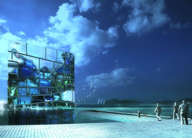 MVRDV's Water Cube Pavilion is designed to draw awareness to the plight of world oceans    Read more: MVRDV's Dramatic Glass Cube Pavilion Will Raise Ocean Awareness at the 2012 World Expo MVRDV Water Cube Pavilion – Inhabitat - Sustainable Design Innovation, Eco Architecture, Green Building