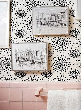 Albert Hadley Fireworks wallpaper // Makes pink tile work