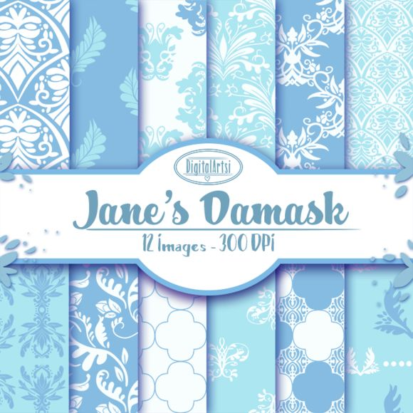 Blue Hand Drawn Damask Patterns by DigitalArtsi on @creativemarket