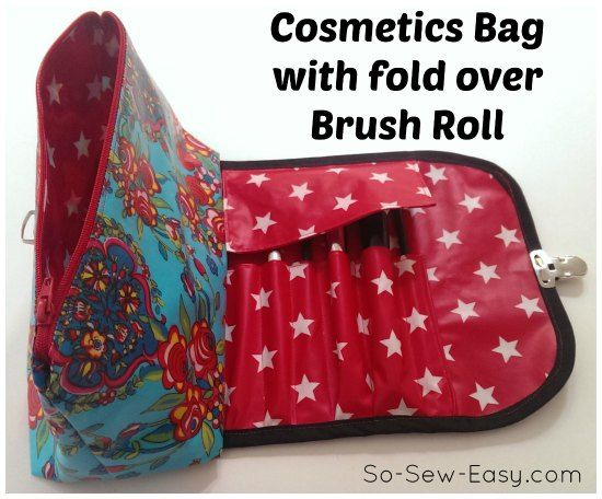 Cosmetics bag with a built in fold over brush roll. Ingenious idea. Free pattern and step by step instructions. Looks great in a laminate fabric.