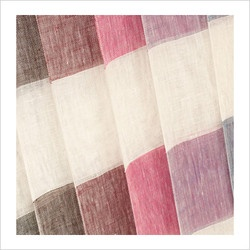 Linen curtains, stripes in multiple colours.