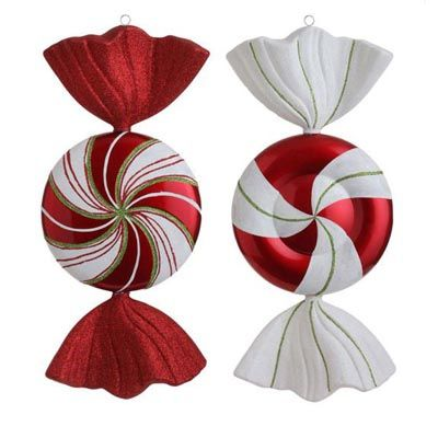 """RAZ Extra Large Peppermint Christmas Ornament Set of 2  2 Asst Red/White Made of Plastic Measures 18"""" X 8.5"""" For Decorative Use Only  RAZ *Cookie Confections* Collection"""