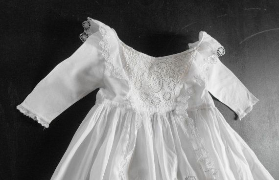 Christening Gown Vintage English w/ fine Handworked 'Broderie Anglaise'